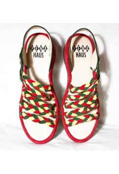 Rita  Green, Yellow, Red Suede