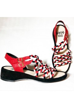 Rita  White Leather, Red and Black Suede