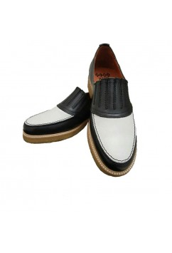 Shark Black and White Leather Crepe Sole